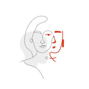 Illustration en gris et rouge avec deux visages entrelacés