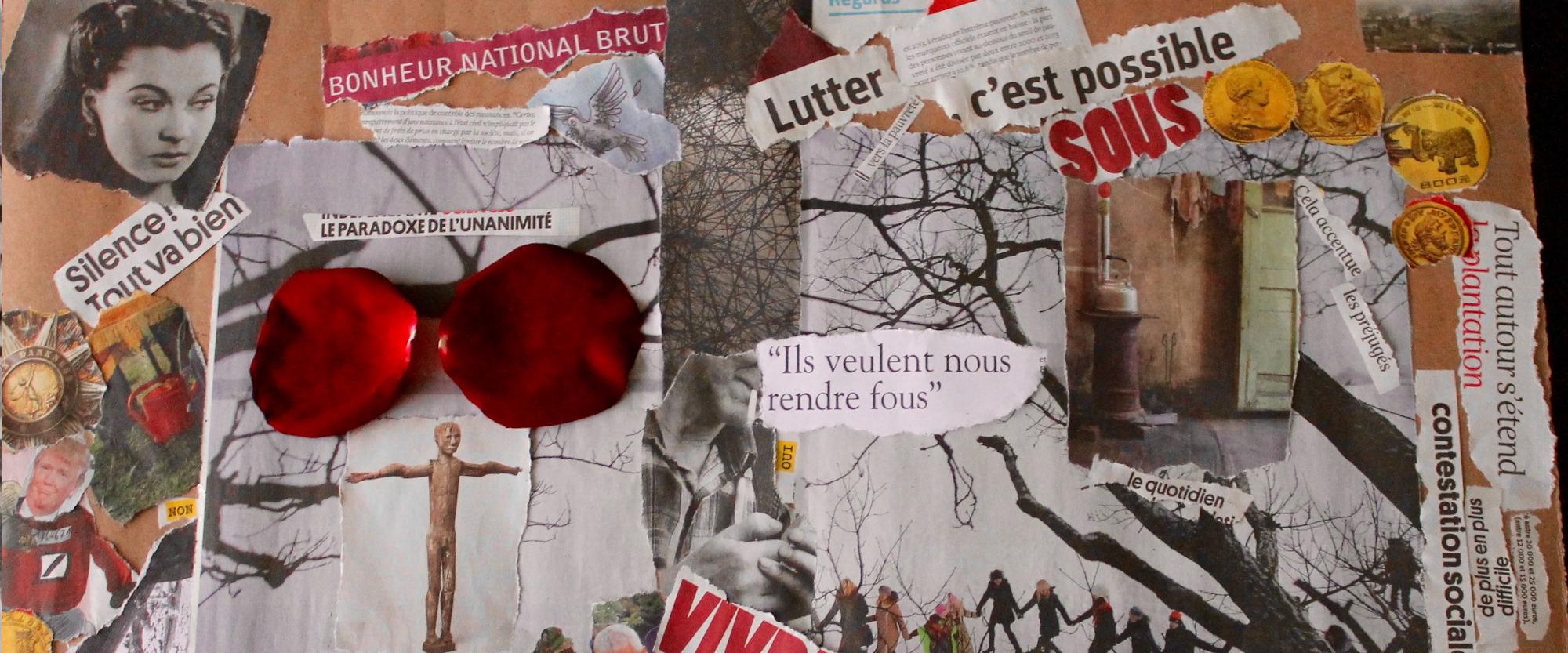 Collage d'hamadi dans le cadre de l'exposition vivante Abécédaire de l'immigration