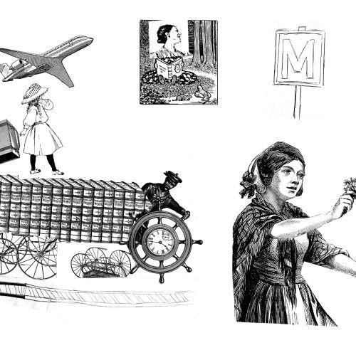 Planche à dessin en noir et blanc avec un avion, une jeune femme en costume traditionnel, un panneau de métro...