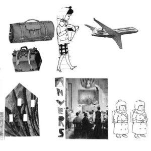 Planche à dessin en noir et blanc avec un avion, des personnages en costumes traditionnels...