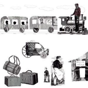 Planche de dessins en noir et blanc avec un ancien train à locomotive, des bagages...