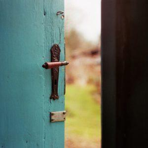 photo d'une porte en bois verte ouverte sur la nature