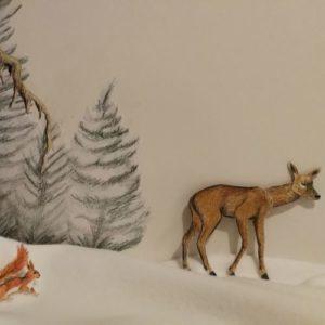 passer l'hiver, avec une biche et un écureuil dans la neige